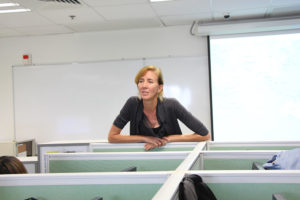 Robin McDowell listens questions carefully in Q&A part,in Hong Kong Baptist University,Monday 24 October 2016.(Photo/Mathilda)